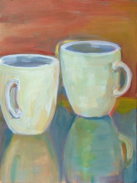 © Véronique Pettit Laforet, peinture, acrylique sur papier, tasse, petit déjeuner, nature morte,